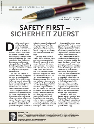 Perspektive 2018 04 Safety First - Sicherheit zuerst